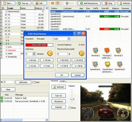 Internet Cafe Software Screenshot. Click for full sized image (100 Kbytes)